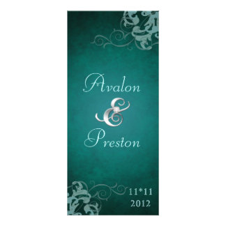 Nobel Teal Scroll Teal  Wedding Program Rack Card Design