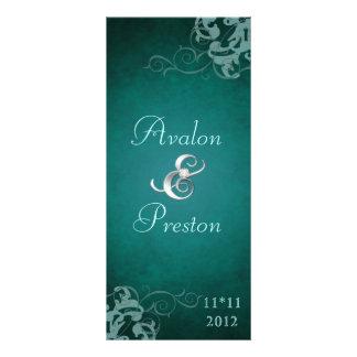 Nobel Teal Scroll Teal  Wedding Program Rack Card Design