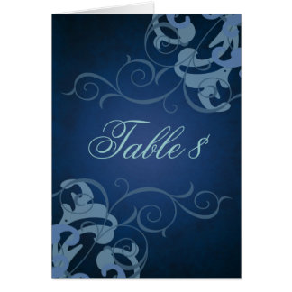 Noble Blue & Blue Scroll Table Card