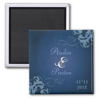Noble Blue Scroll Blue Save The Date Magnet