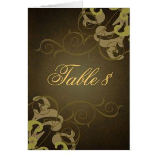 Noble Gold & Brown Scroll Table Card