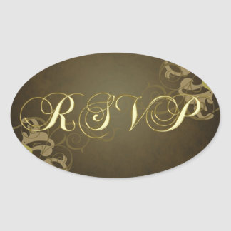 Noble Gold Scroll Brown Rsvp Gold Sticker