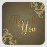 Noble Gold Scroll Brown Thank You Sticker
