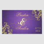 Noble Gold Scroll Gld Save The Date Purple Sticker