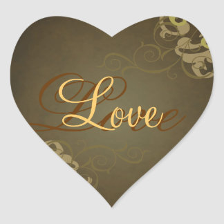 Noble Gold Scroll Heart Brown Love Sticker
