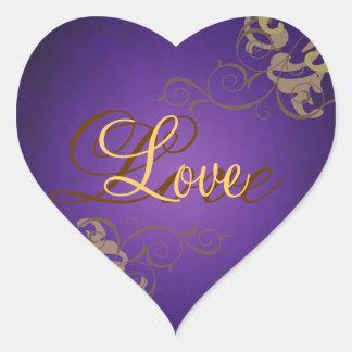 Noble Gold Scroll Heart Purple Love Sticker
