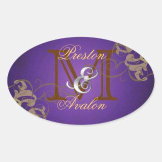 Noble Gold Scroll Monogram Purple Sticker