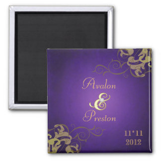 Noble Gold Scroll Purple Save The Date Gold Magnet