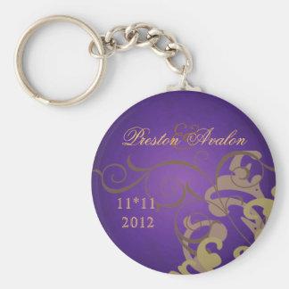Noble Gold Scroll Purple Swirl Keychain