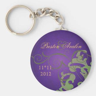 Noble Green Scroll Purple Swirl Keychain
