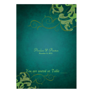 Noble Green & Teal Scroll Table Placecard Business Card Template