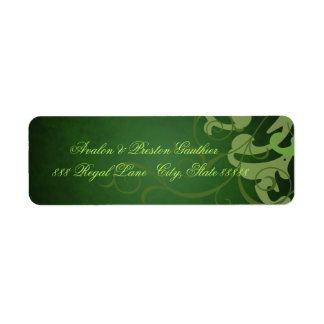 Noble Green Texture Green Scroll Address Labels