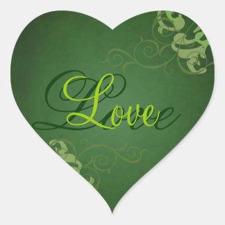 Noble Lime Scroll Heart Green Love Sticker
