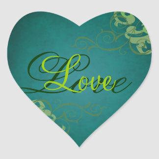 Noble Lime Scroll Heart Teal Love Sticker