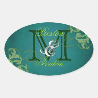 Noble Lime Scroll Monogram Teal Sticker