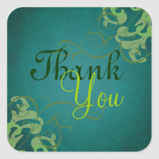 Noble Lime Scroll Teal Thank You Sticker