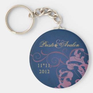 Noble Pink Scroll Blue Swirl Keychain