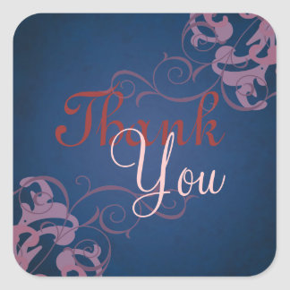 Noble Pink Scroll Blue Thank You Sticker