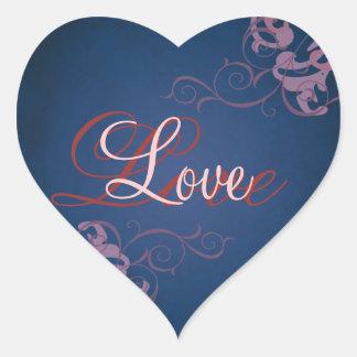 Noble Pink Scroll Heart Blue Love Sticker