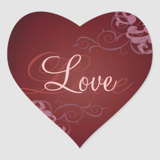 Noble Pink Scroll Heart Red Love Sticker