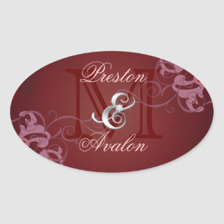 Noble Pink Scroll Monogram Red Sticker