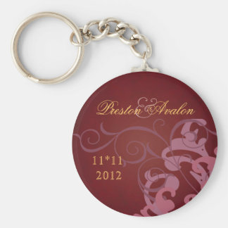 Noble Pink Scroll Red Swirl Keychain