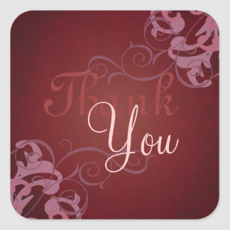 Noble Pink Scroll Red Thank You Sticker