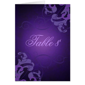 Noble Purple & Liliac Scroll Table Card