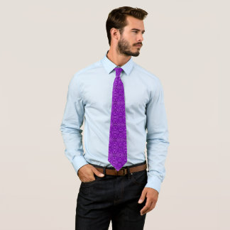 Noble Purple Ribbed Ornate Jacquard Star Pattern Tie