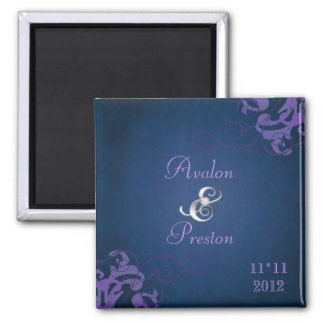 Noble Purple Scroll Blue Save The Date Magnet