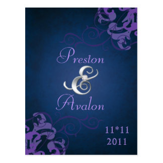Noble Purple Scroll Blue Save The Date Postcard