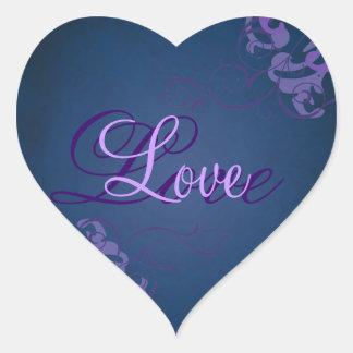 Noble Purple Scroll Heart Blue Love Sticker