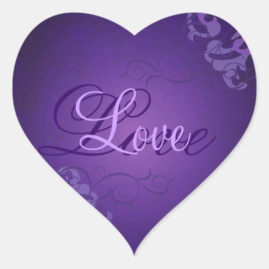 noble purple scroll heart purple love sticker