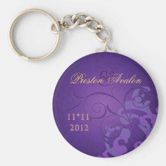 Noble Purple Scroll Purple Swirl Keychain