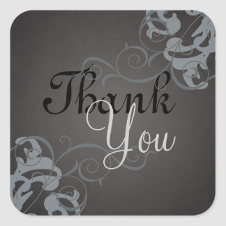 Noble Silver Scroll Black Thank You Sticker
