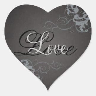 Noble Silver Scroll Heart Black Love Sticker