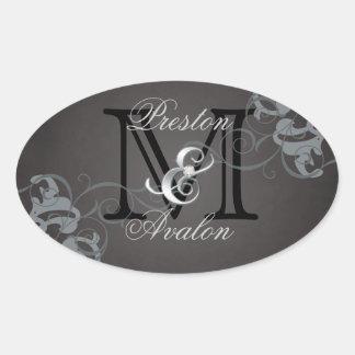 Noble Silver Scroll Monogram Black Sticker