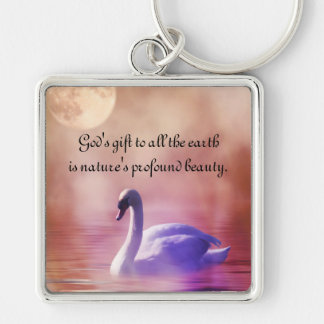 Noble Swan Silver-Colored Square Key Ring