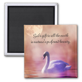 Noble Swan Square Magnet