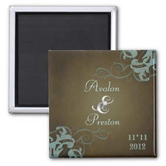 Noble Teal Scroll Brown Save The Date Magnet