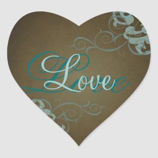 Noble Teal Scroll Heart Brown Love Sticker
