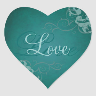 Noble Teal Scroll Heart Teal Love Sticker