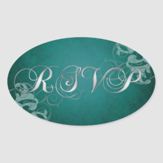 Noble Teal Scroll Teal Rsvp Sticker