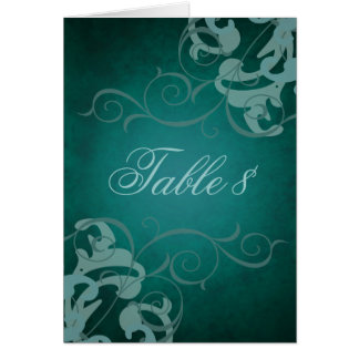 Noble Teal & Teal Scroll Table Card