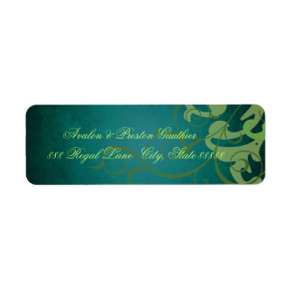 Noble Teal Texture Green Scroll Address Labels