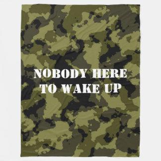 Nobody here to wake up fleece blanket