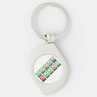 nobody knows in chemical elements Silver-Colored swirl key ring