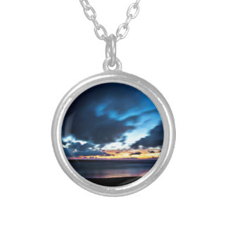 Nocturnal Cloud Spectacle on Danish Sky Silver Plated Necklace