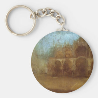 Nocturne: Blue and Gold - St Mark's, Venice Basic Round Button Key Ring