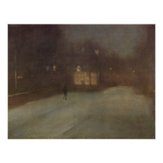 Nocturne Grey and Gold Snow in Chelsea by Whistler Poster